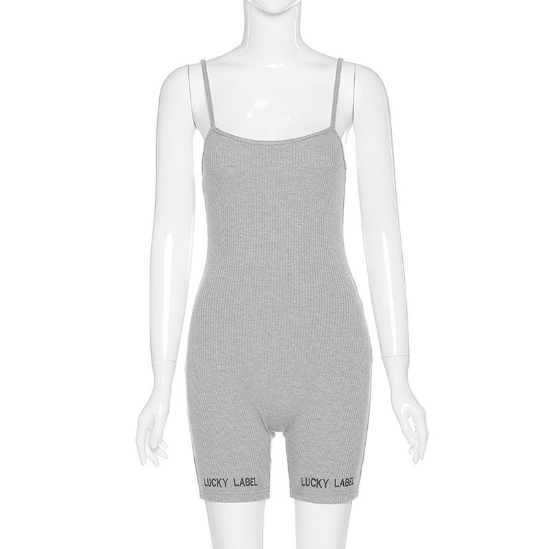 Lucky Label Ribbed Sexy Romper Short Bodycon Playsuit