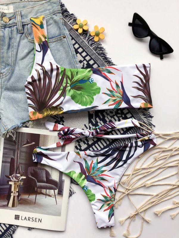One Shoulder Floral Bikini Two Piece Swimsuit