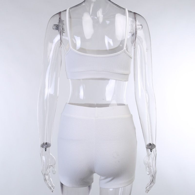 Knit Ribbed Buckle Chest Slim Fit Crop Top & Shorts
