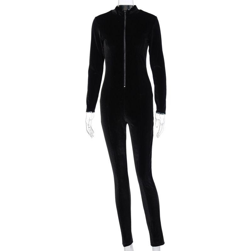 Long Sleeve Velvet Zipper Slim Fit Fitness Jumpsuit