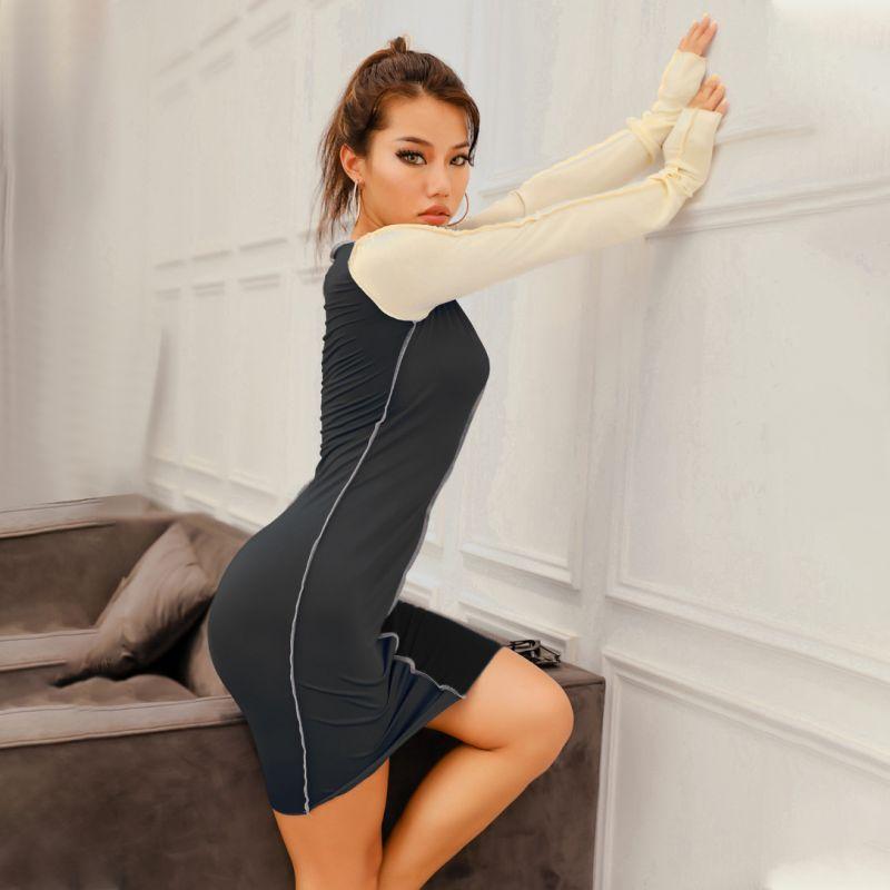 Contrast stitch slim long sleeve o neck pencil dress