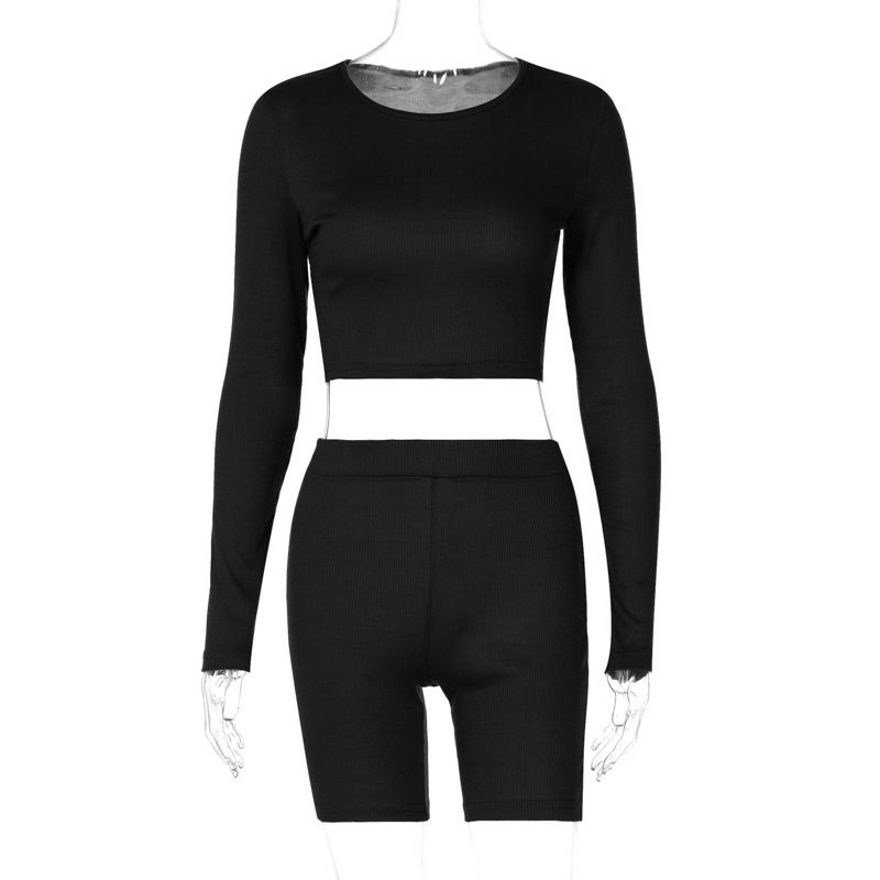 Ruched Two Piece Set Women Crop Top & Biker Shorts