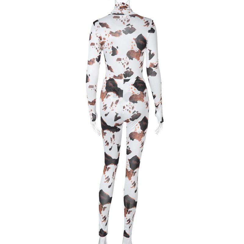 Long Sleeves Cow Print Bodycon Bodysuit & Skinny Pants