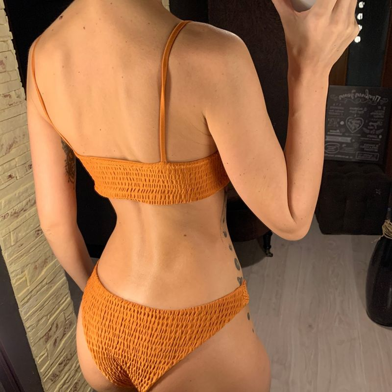Crinkle Bikini Sexy Swimsuit Two Piece Swimwear