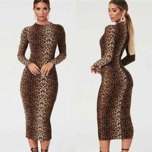 Stunning Long-Sleeved Leopard Print Dress