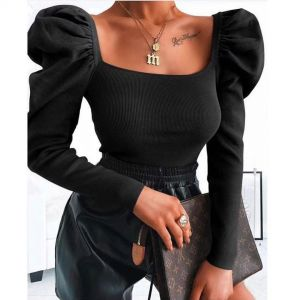 Solid Square Neck Puff Sleeve Ribbed Blouse