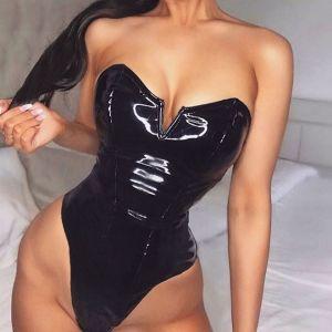 Off Shoulder Latex Wet Look High Cut Bodysuit