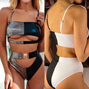 High Waist Hollow Out Bikini Buckle Belt Swimsuit