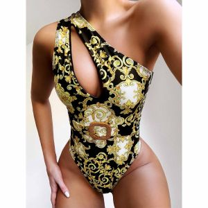 Baroque print swimsuit one shoulder monokini