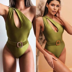 Avocado green one shoulder monokini w/ waist belt