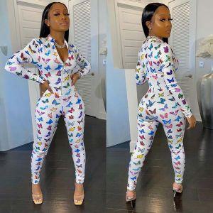 Bodycon Butterfly Print Long Sleeve Zipper Jumpsuit