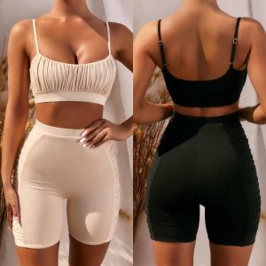 TWO PIECE SET SEXY CROP TOP AND SHORTS