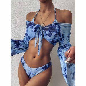 3 pack Tie Dye Triangle Halter Bikini Swimsuit & Crop Top