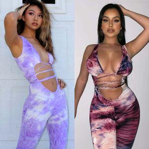 Women Elegant Evening Party Playsuit Long Tie Dye Pants