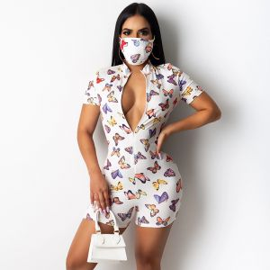 Butterfly Print Short Sleeve Zipper Chest Romper