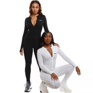 Simple Style Front Zipper Sport Bodycon Jumpsuit