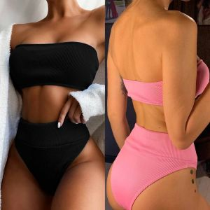 High Waist Bandeau Bikini Strapless Two Piece Swimwear