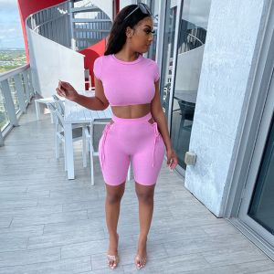 Crop Top and Shorts Two Piece Outfit Bandage Shorts Set
