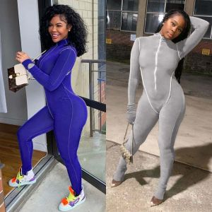 Long Sleeve High Neck Patchwork Bodycon Jumpsuit