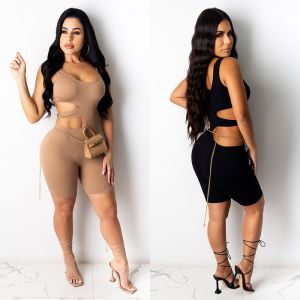 Fashion Solid Color Knitted Short Romper