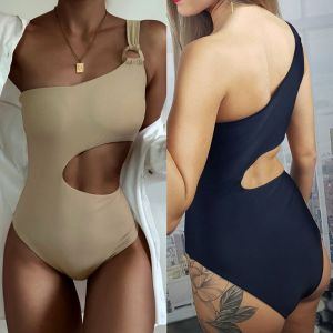 Cut Out One Shoulder One Piece Swimsuit