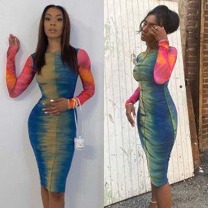 Tie Dye Rainbow Bodycon Midi Dress