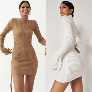 Drawstring Ruffle Lace Up Long Sleeve Ribbed Mini Dress