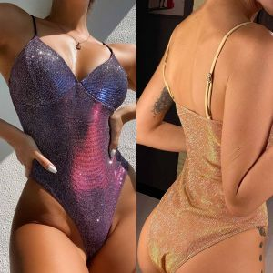 Glitter High Leg One Piece Monokini Swimsuit