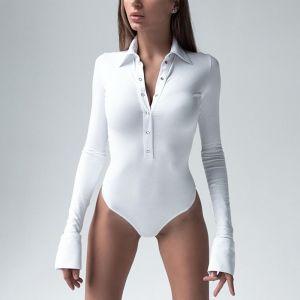 Long Sleeve Bodysuit V Neck Button Skinny Casual Romper