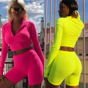 Long Sleeve Exercise Fitness Clothing Neon Sport Suit