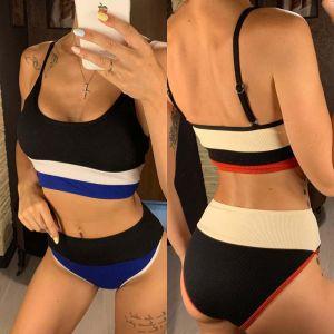 Rib Color Block High Waisted Bikini Swimsuit