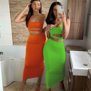 High Waist Slim Two Piece Skirt Set Fashion Outfit
