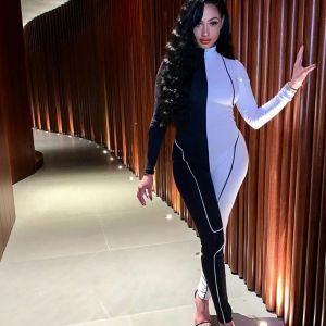 Long Sleeve Mock Neck Contrasted Stretchy Long Jumpsuit
